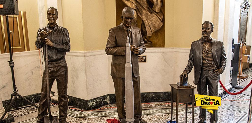 Statues for South Dakota Govs Samuel Elrod, Archie Gubbrud and Dennis Daugaard Unveiled