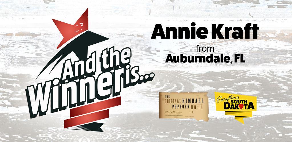 Annie Kraft from Auburndale, FL is our February Kimball Popcorn Ball Winner!