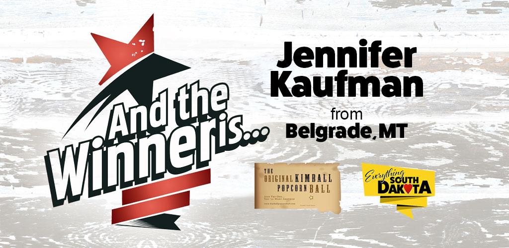 Jennifer from Belgrade, MT is our December Kimball Popcorn Ball Winner!